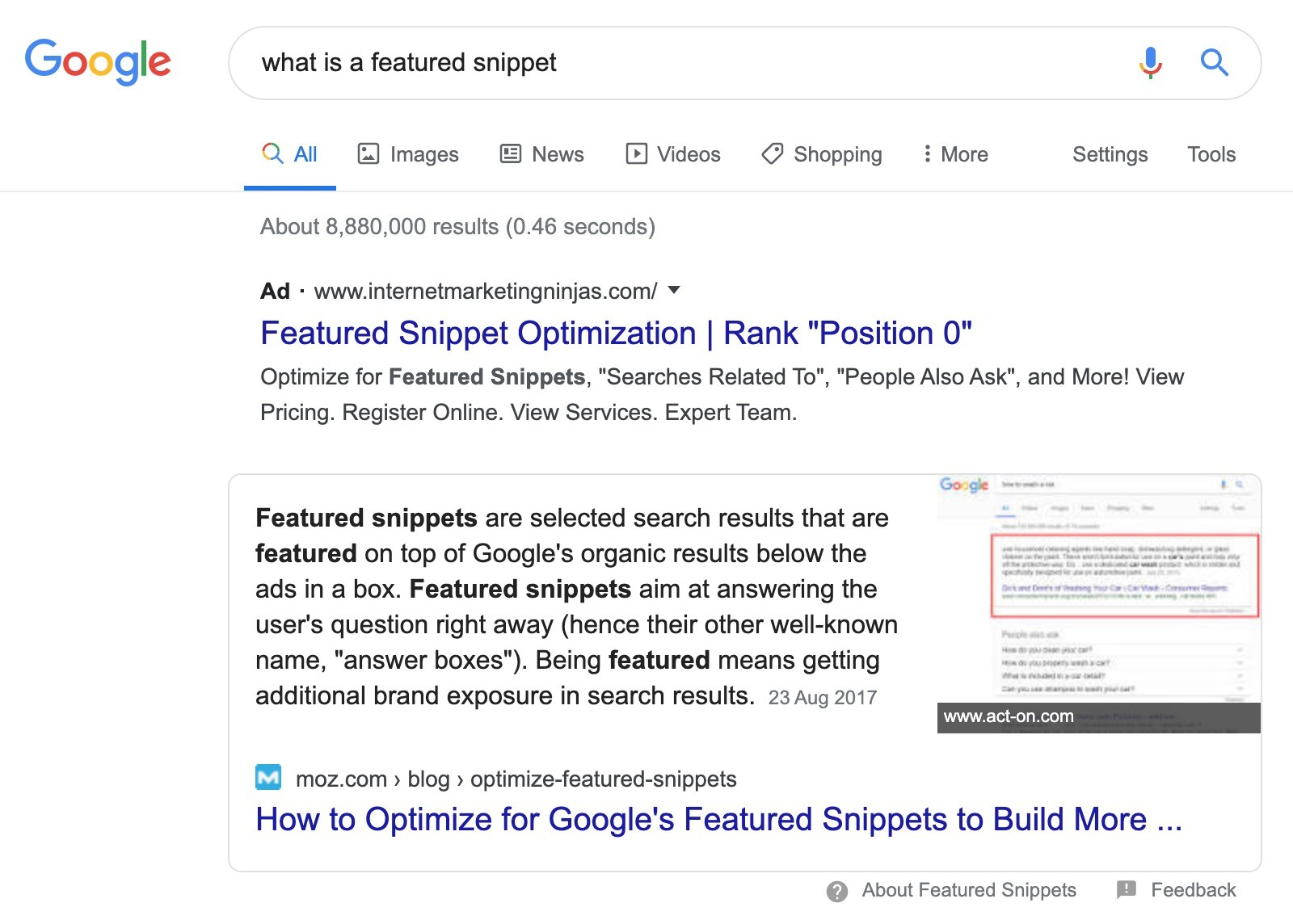 what is a featured snippet serp