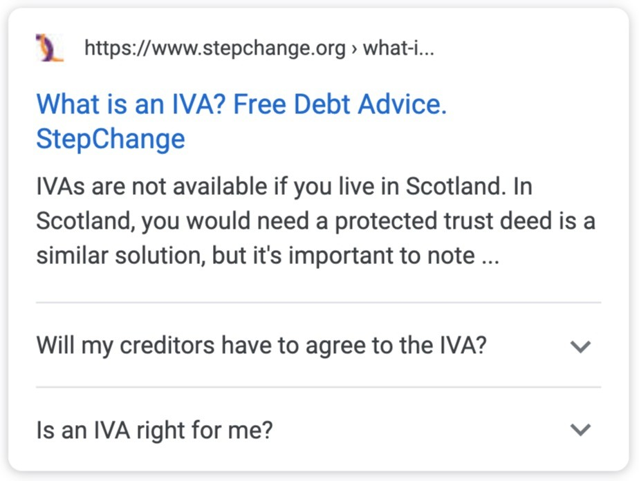 what is an iva serp rich result